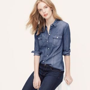 Loft | Blue Chambray The Softened Shirt Small Top